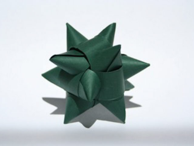 Modular Origami Model On White. Yellow And Orange, 3D Spiky Ball ...   480x640